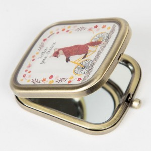 Fox on a Bicycle Compact Mirror