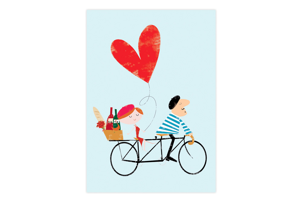 Tandem Love Bicycle Greeting Card