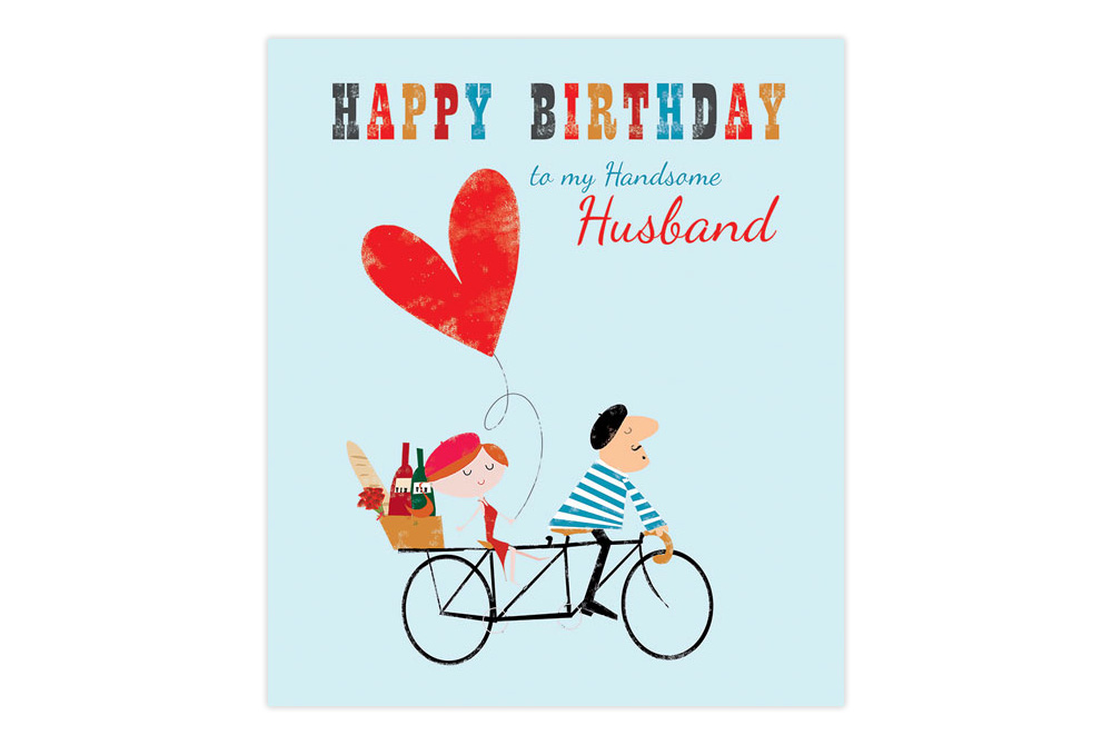Handsome Husband Bicycle Birthday Card