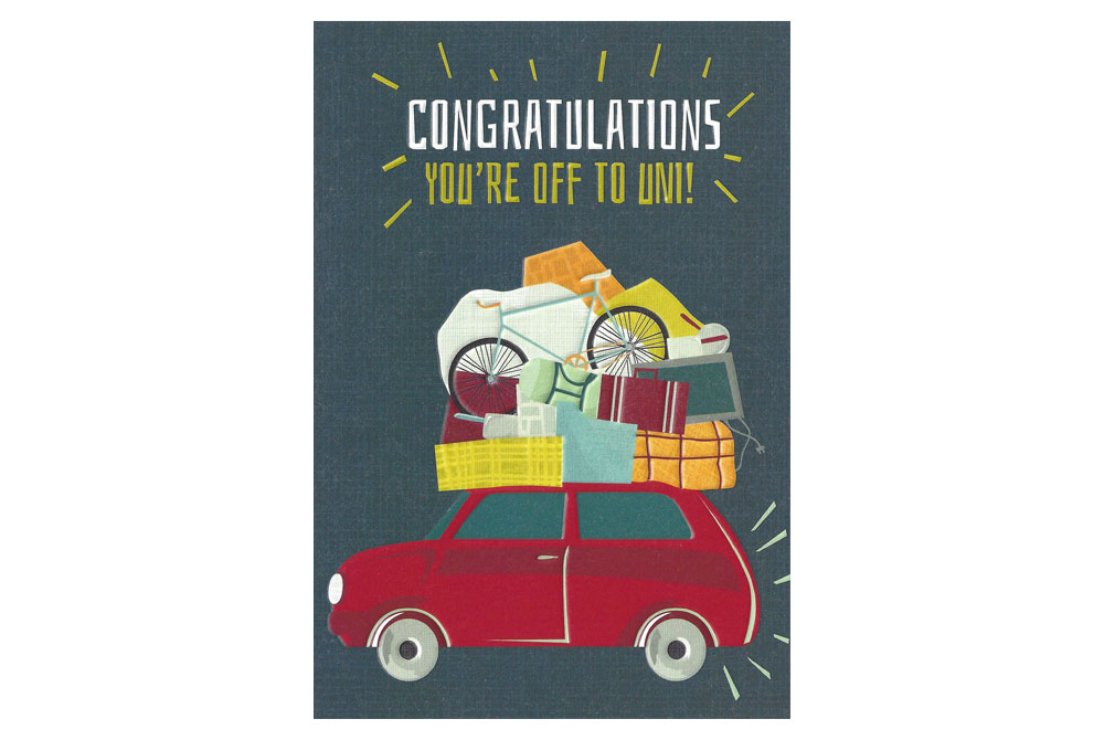 Congratulations You're Off to Uni Bicycle Greeting Card