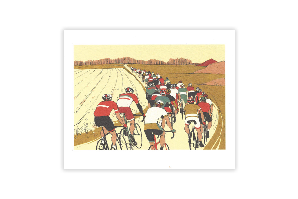 Chasing On Bicycle Greeting Card by Eliza Southwood