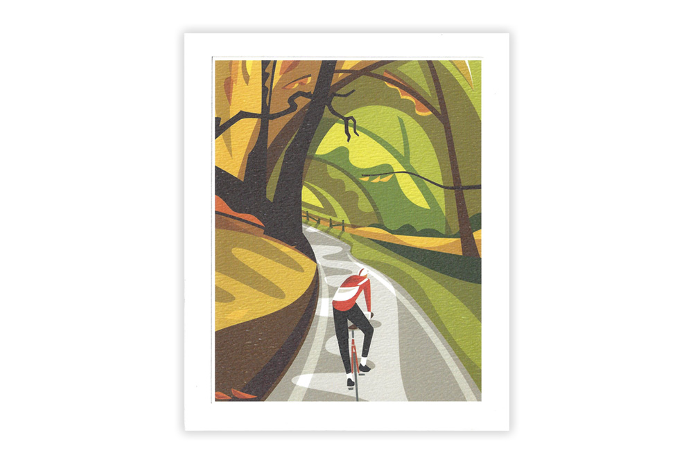 Falling Leaves Bicycle Greeting Card by Andrew Pavitt