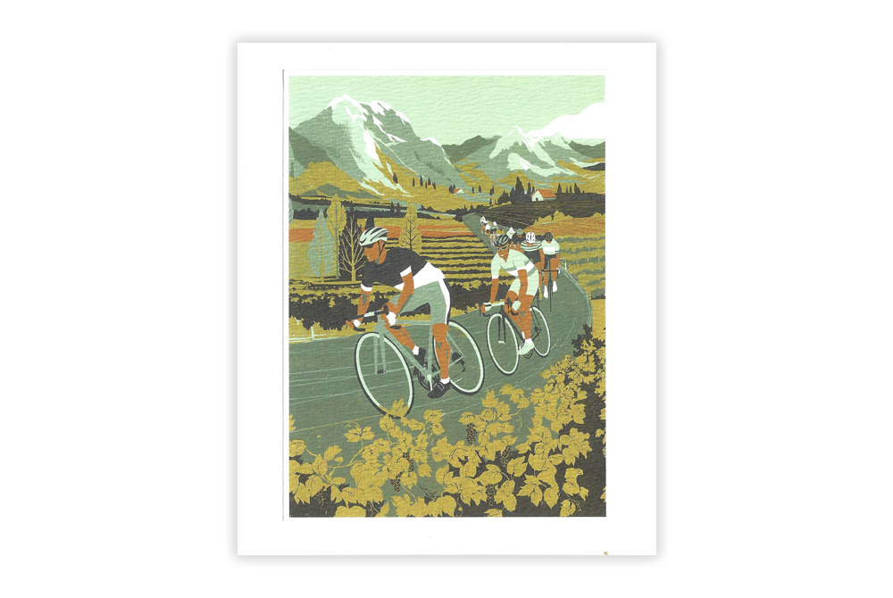 Vineyard Cyclists Bicycle Greeting Card by Eliza Southwood