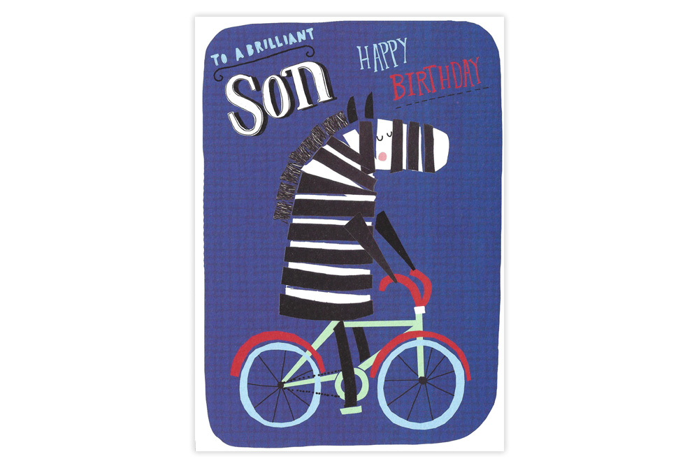 Zebra on a Bicycle Son Birthday Card