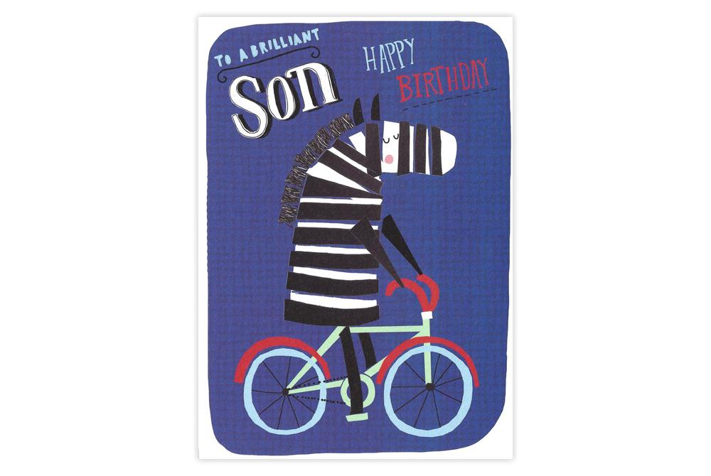 Zebra on a Bicycle Birthday Card