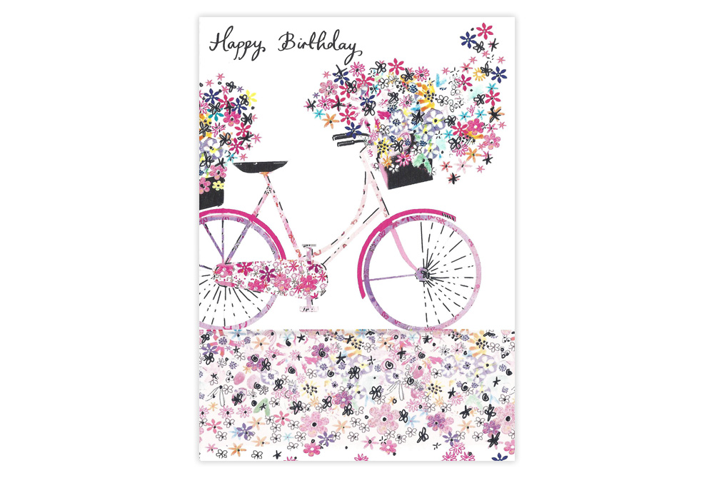 Carpet of Flowers Bicycle Birthday Card