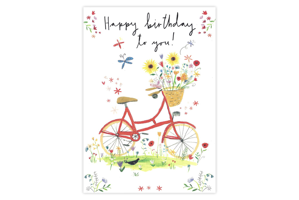 Summer Flowers Bicycle Birthday Card