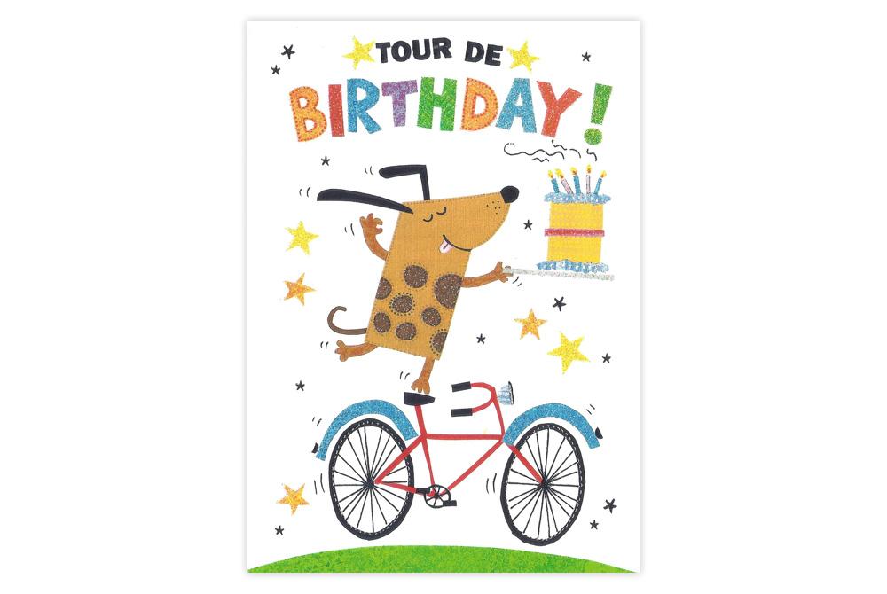 Dog on a Bicycle Birthday Card