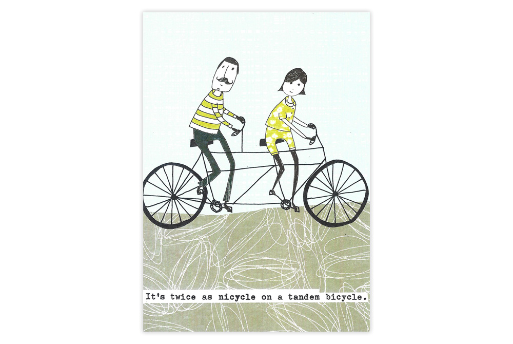 Twice as Nicycle Tandem Greeting Card