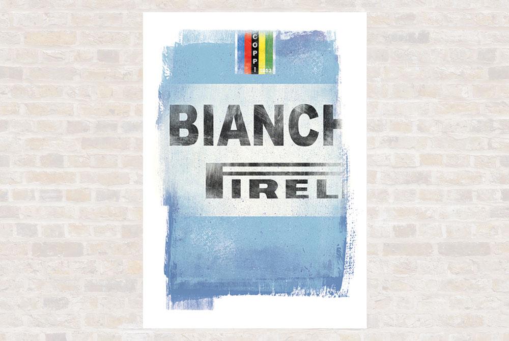 Bianchi Cycling Print by Gareth Llewhellin