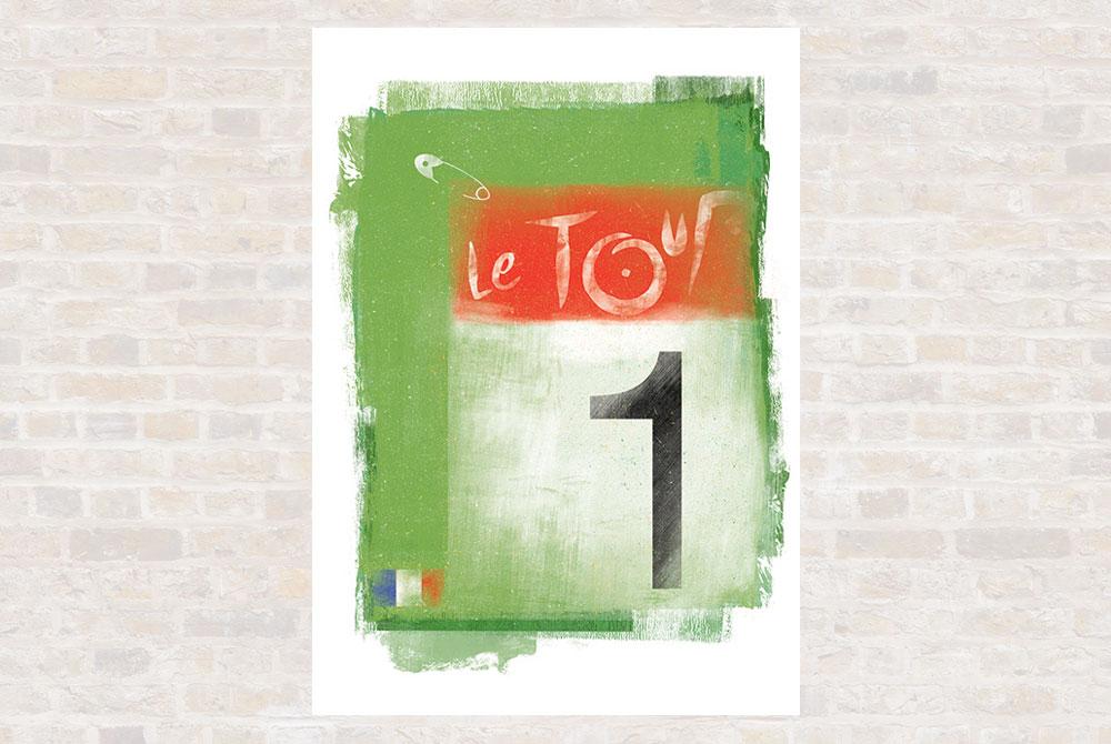 Green Jersey Cycling Print by Gareth Llewhellin