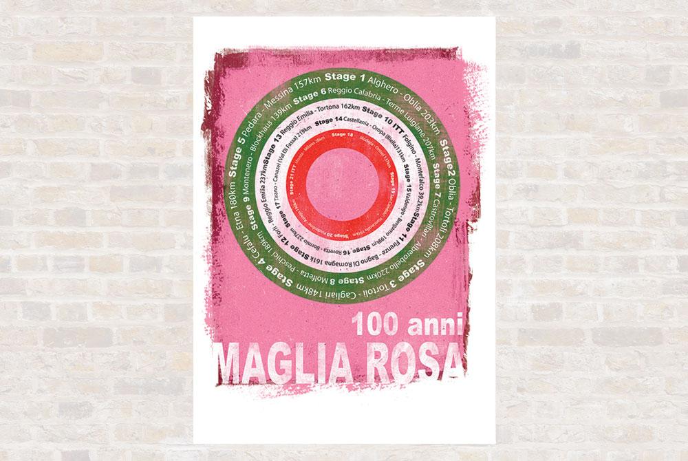 Maglia Rosa Cycling Print by Gareth Llewhellin