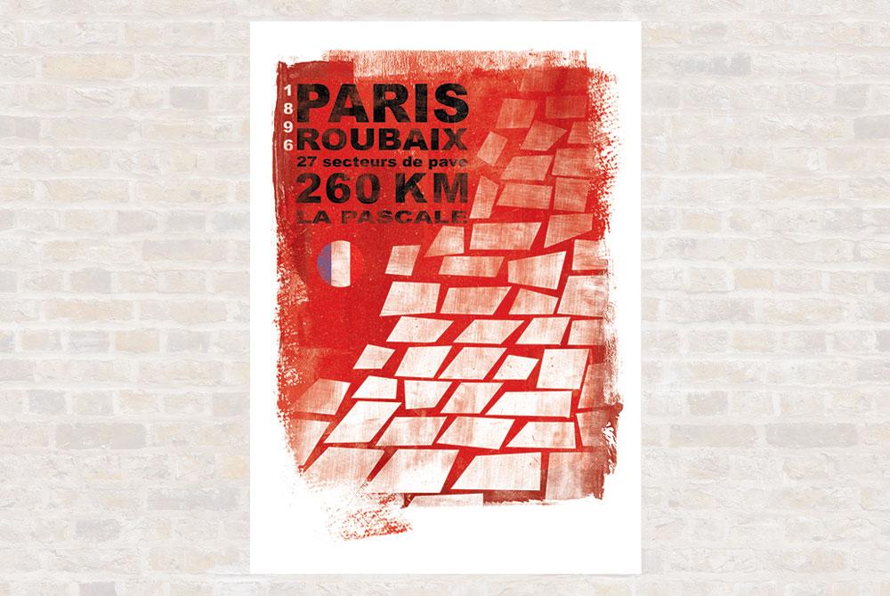Paris Roubaix Cycling Print by Gareth Llewhellin