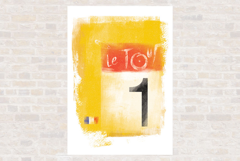 Yellow Jersey Cycling Print by Gareth Llewhellin