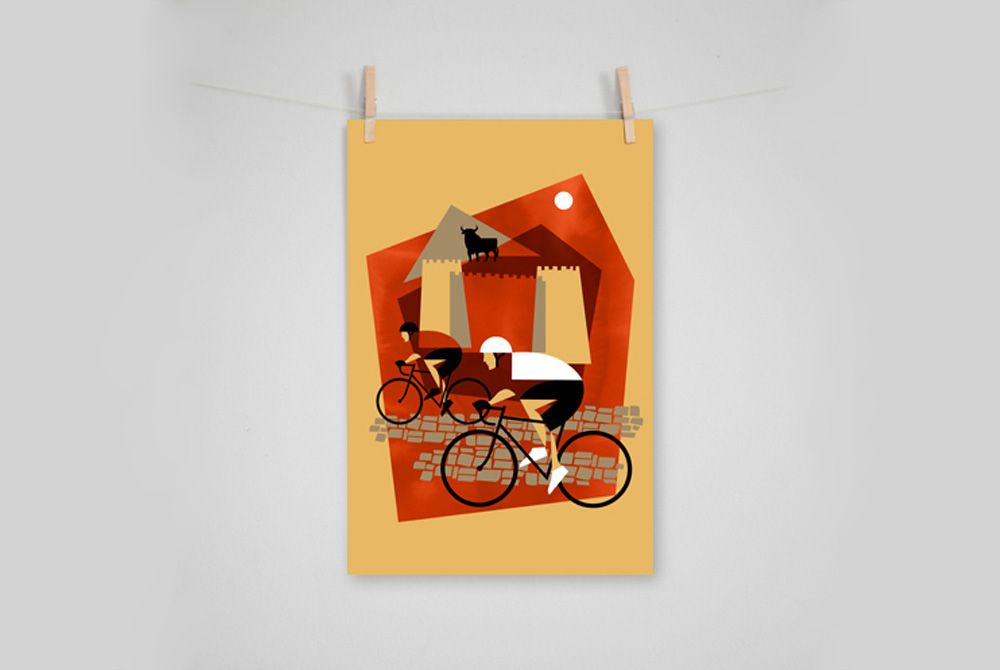 Vuelta A Espana Cycling Print by Eleanor Grosch