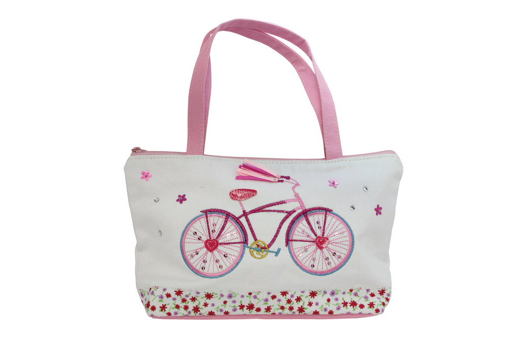 Embroidered Bicycle Mini Handbag