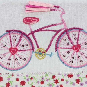 Embroidered Bicycle Pencil Case