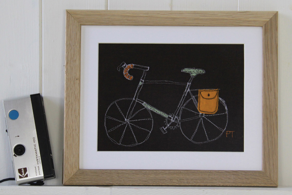 Poppy Treffry Embroidered Touring Bicycle Print