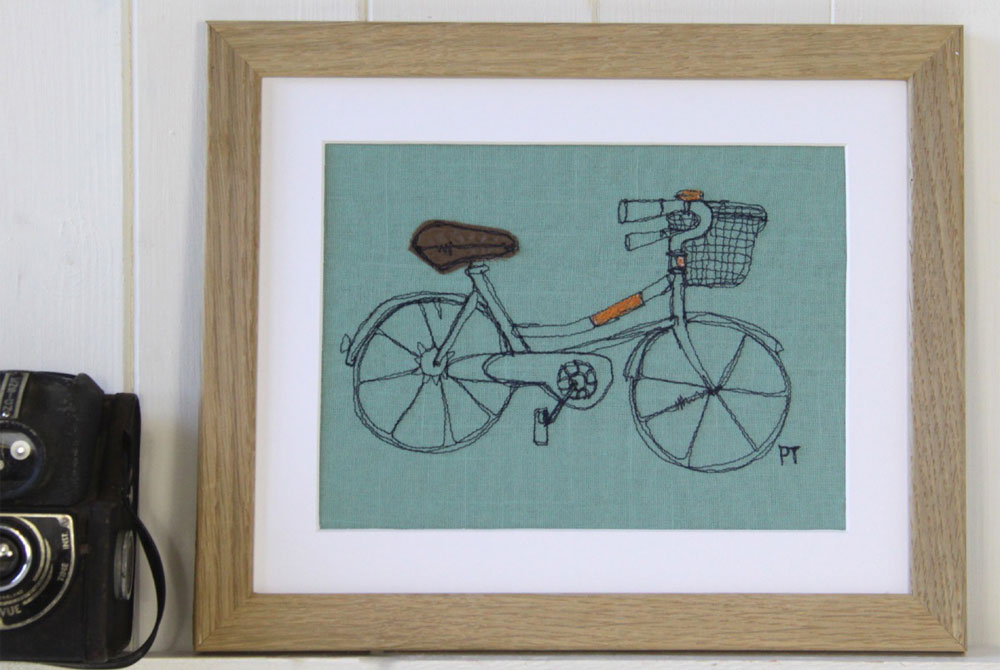 Poppy Treffry Embroidered Bicycle Print