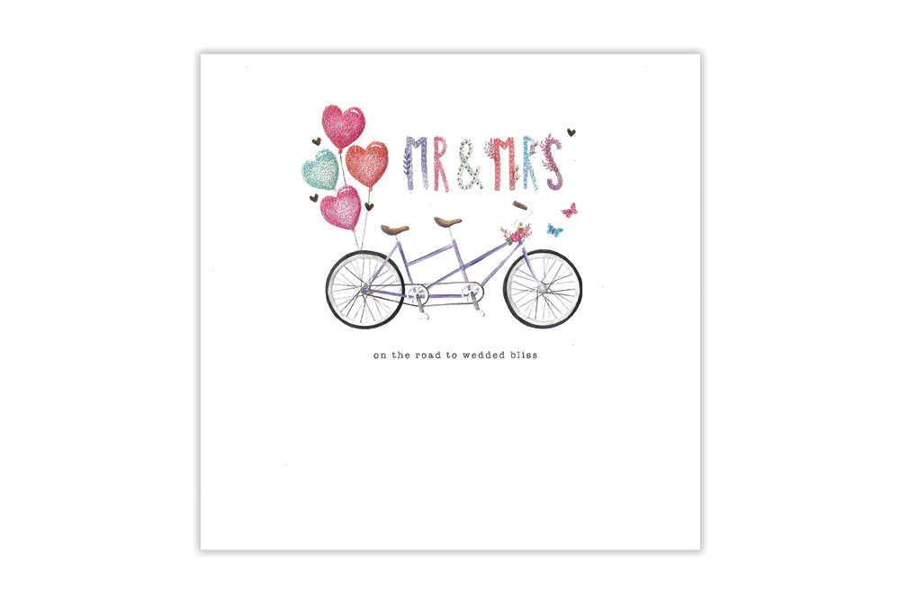 Mr and Mrs Tandem Wedding Card