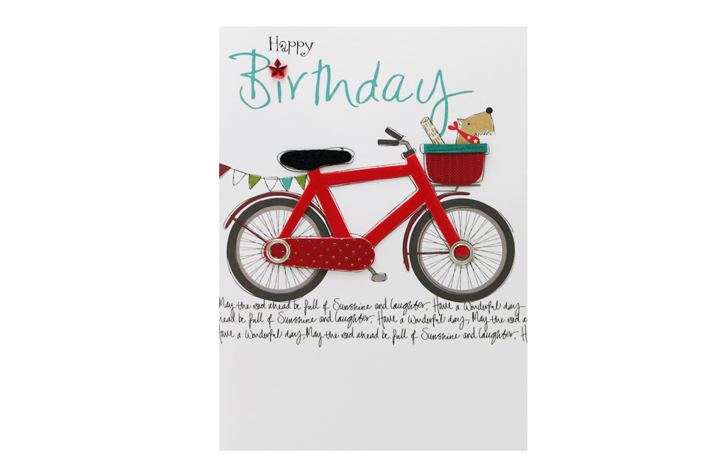 Dog in a Basket Bicycle Birthday Card
