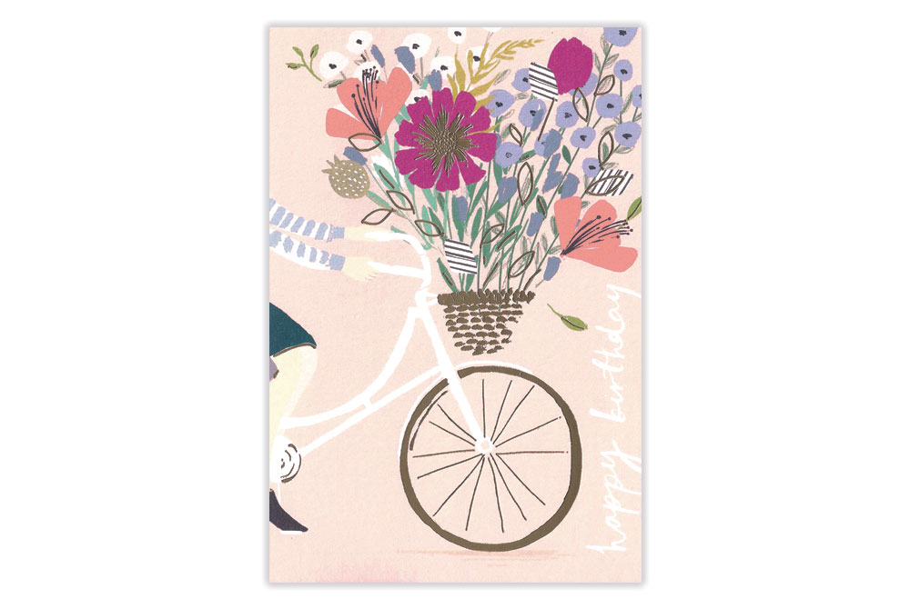 Massive Basket of Flowers Bicycle Birthday Card