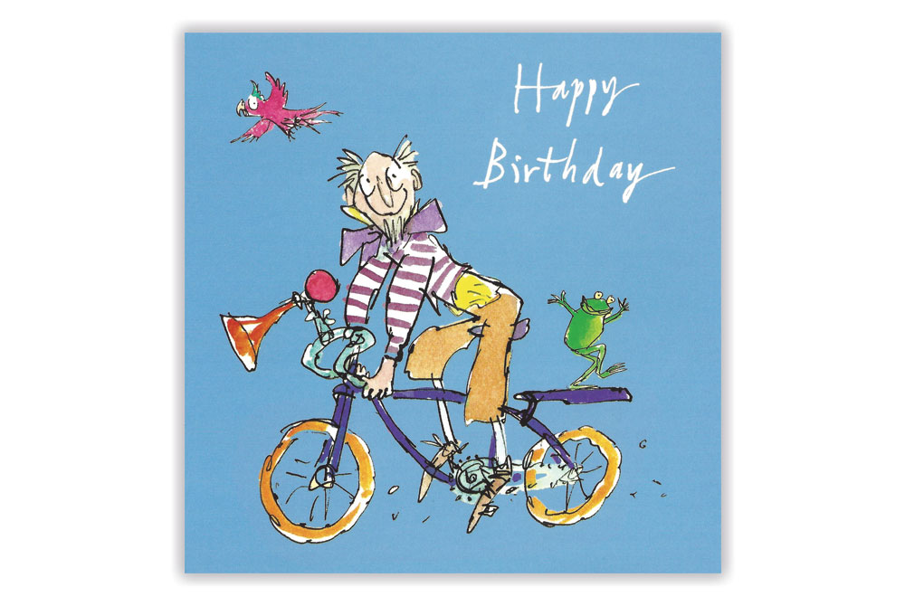 Quentin Blake Bicycle Birthday Card – Bicycle Birthday Cards