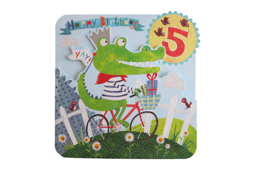 Happy 5th Crocodile Bicycle Birthday Card