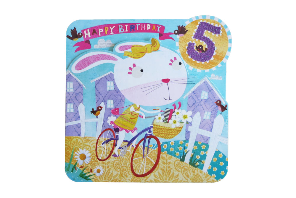 Happy 5th Bunny Bicycle Birthday Card