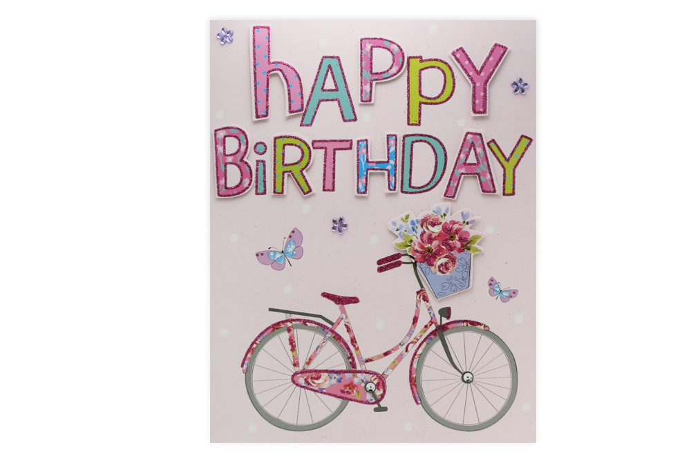 Extra Large Happy Bicycle Birthday Card Cyclemiles