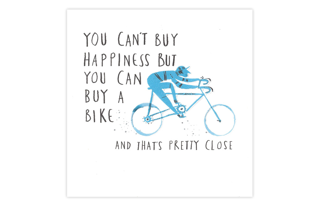 Blue Racer Bicycle Birthday Card