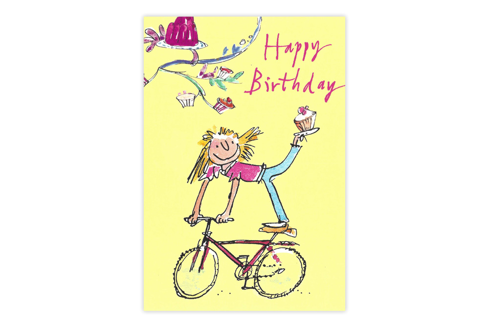 Quentin Blake Cupcake Bicycle Birthday Card