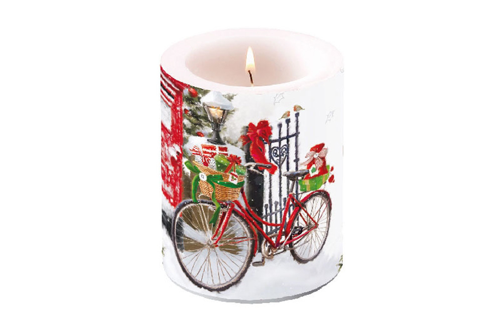 Bicycle in the Snow Christmas Bicycle Candle