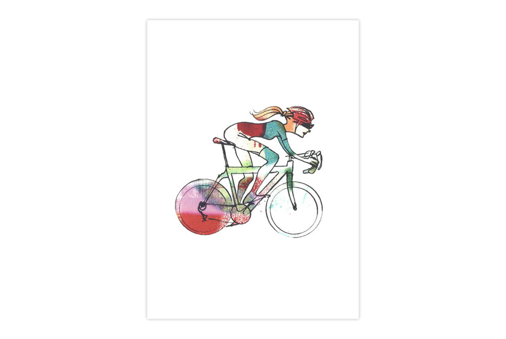 Woman Racer 47 Bicycle Greeting Card – Simon Spilsbury