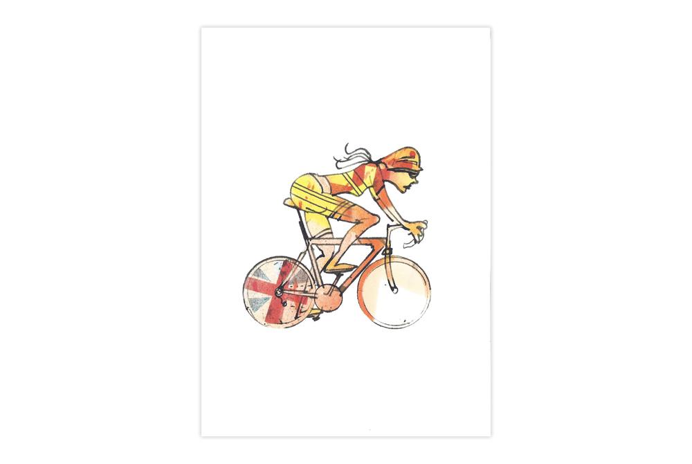 Woman Racer 48 Bicycle Greeting Card – Simon Spilsbury