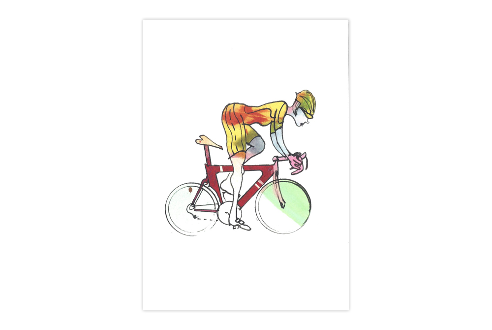 Woman Racer 49 Bicycle Greeting Card – Simon Spilsbury