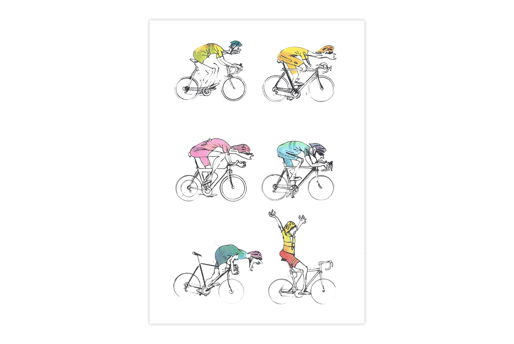 Midlife Cyclists Bicycle Greeting Card – Simon Spilsbury
