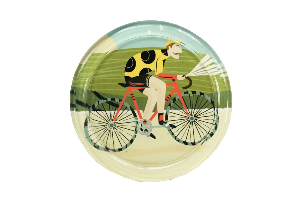 Vintage Cyclist Glass Coaster