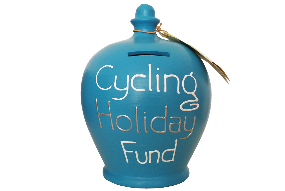 CycleMiles Cycling Holiday Fund Money Pot – Pale Blue