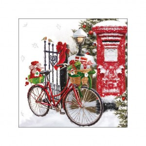 Bicycle in the Snow Christmas Bicycle Napkins