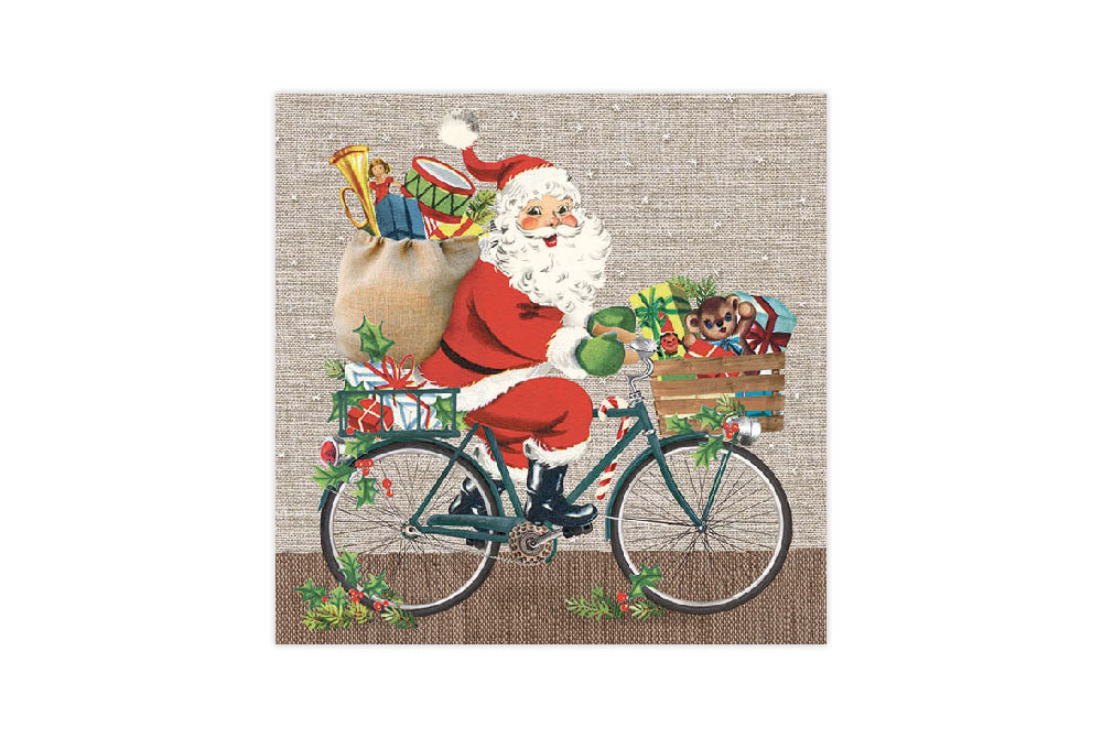 Santa on a Bike Bicycle Napkins