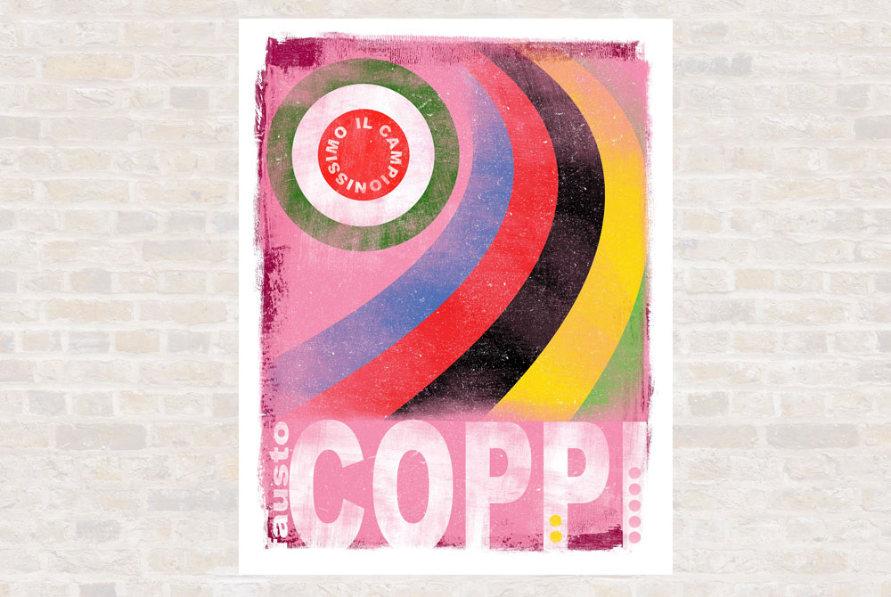 The Greats – Fausto Coppi Cycling Print by Gareth Llewhellin