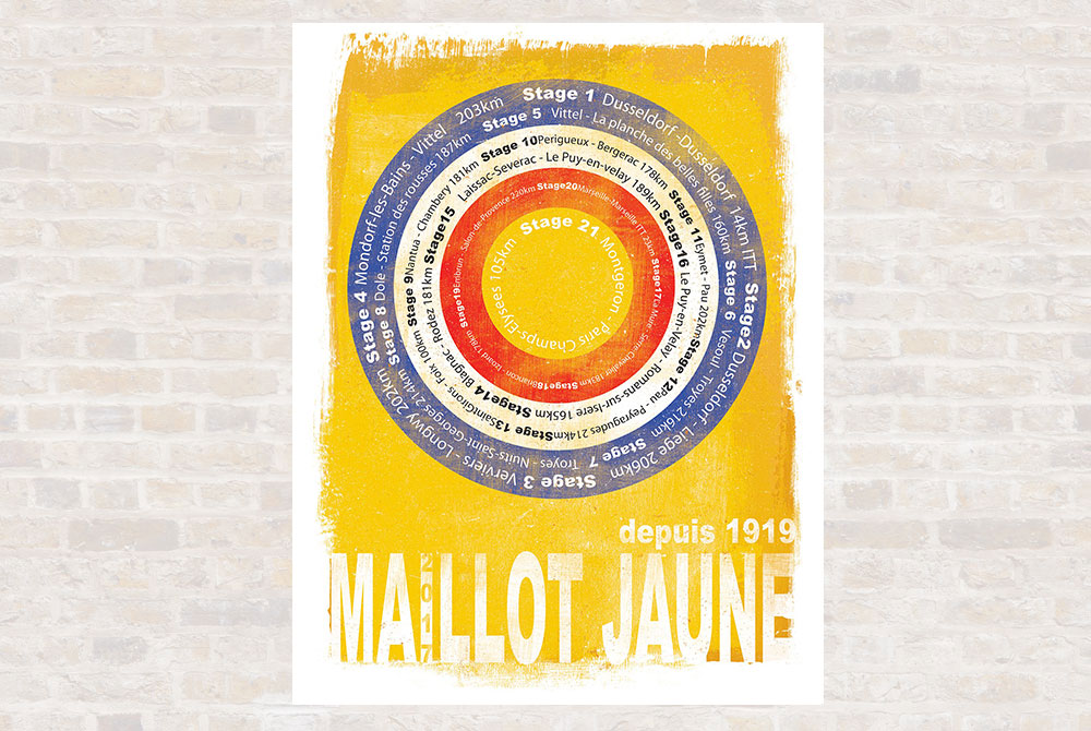 Maillot Jaune Cycling Print by Gareth Llewhellin