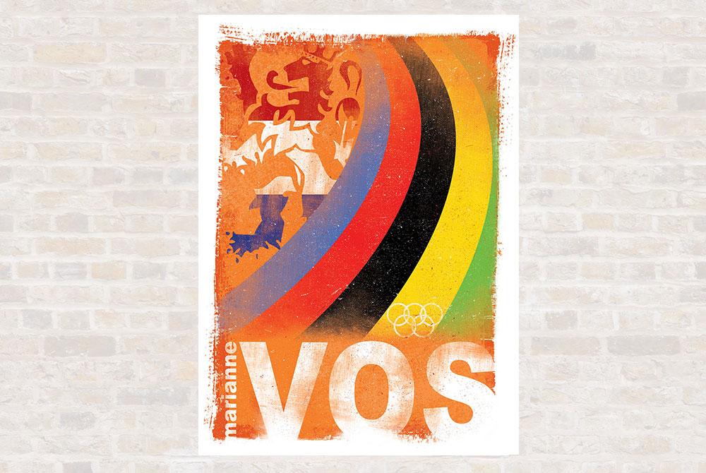 The Greats – Marianne Vos Cycling Print by Gareth Llewhellin