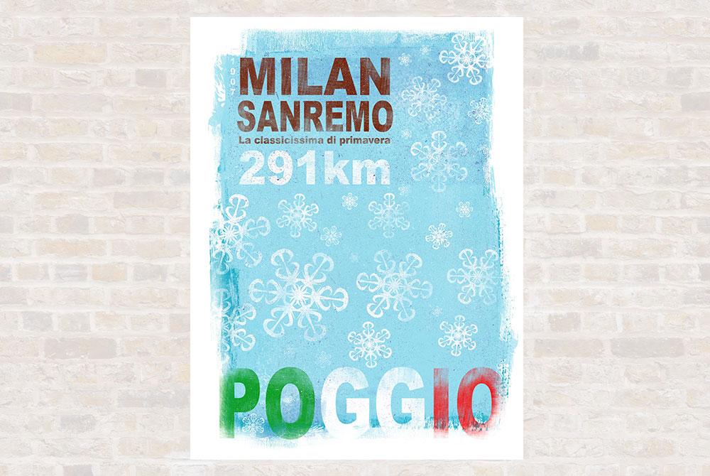 Milan SanRemo Cycling Print by Gareth Llewhellin