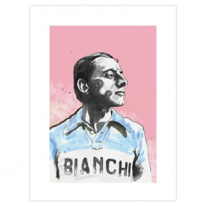 Fausto Coppi Cycling Print by Richard Long