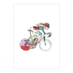 Woman Racer 47 Cycling Print - Simon Spilsbury