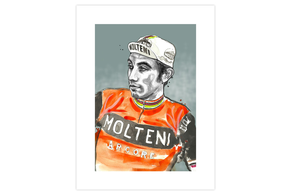 Eddy Merckx Cycling Print by Richard Long
