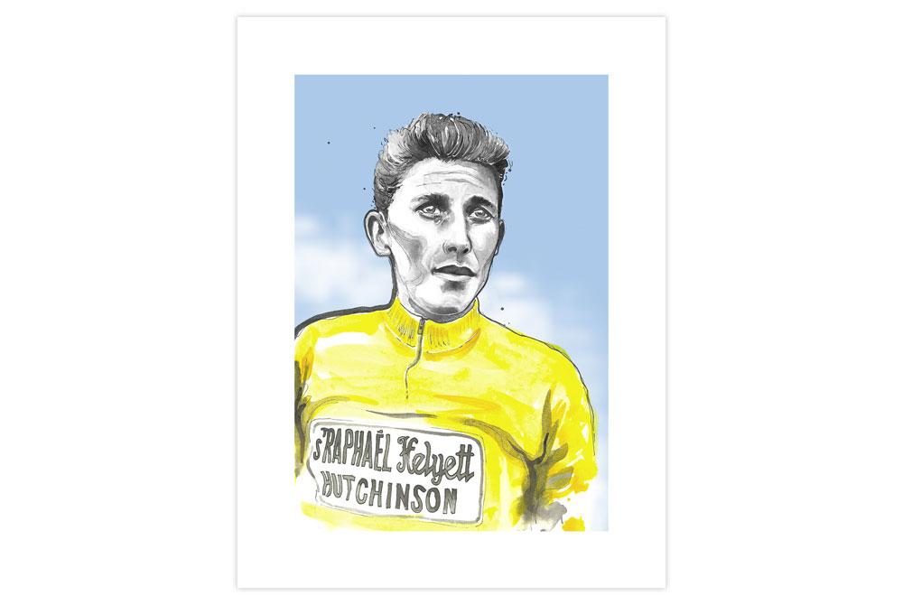 Jacques Anquetil Cycling Print by Richard Long