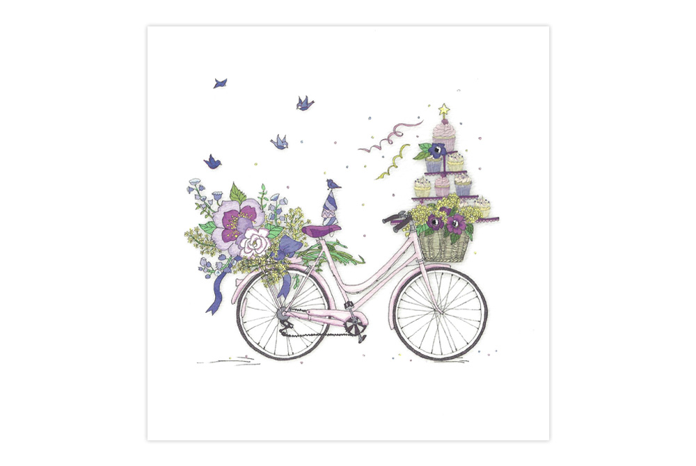 Cup Cakes and Flowers Bicycle Greeting Card
